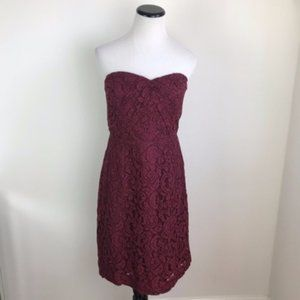 J. Crew Red Lace Strapless Dress size 4